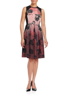 Carmen Marc Valvo Floral Ombre Fit & Flare Dress