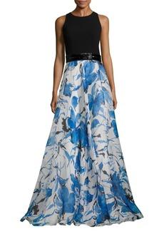Carmen Marc Valvo Floral Organza Gown