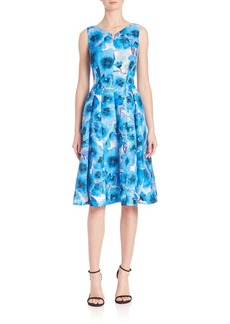 Carmen Marc Valvo Floral Pleated Cocktail Dress