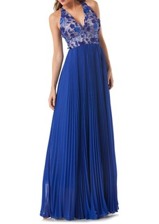 Carmen Marc Valvo Floral Pleated Gown
