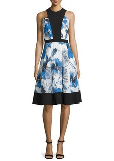 Carmen Marc Valvo Floral-Print Illusion-Bodice Sleeveless Cocktail Dress