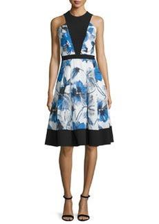 Carmen Marc Valvo Floral-Print Illusion-Bodice Sleeveless Cocktail Dress