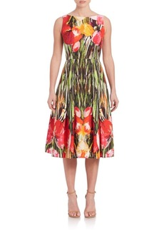 Carmen Marc Valvo Floral-Print Party Dress