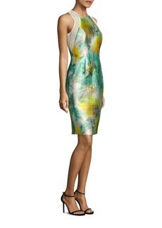 Carmen Marc Valvo Floral-Print Satin Twill Sheath Dress