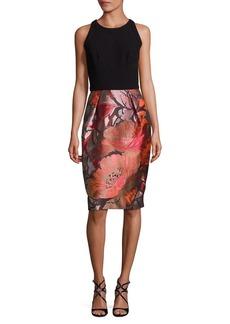 Carmen Marc Valvo Floral-Print Sheath Dress