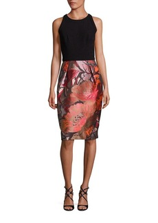 Carmen Marc Valvo Floral-Print Sheath Dress
