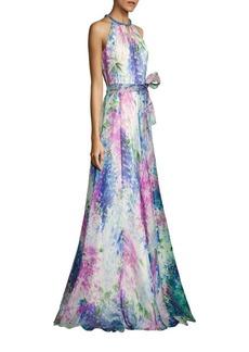 Carmen Marc Valvo Floral-Print Silk Organza Halter Gown