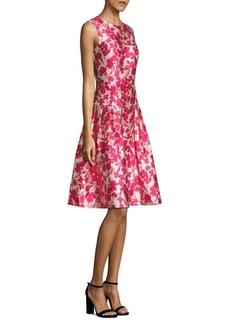 Carmen Marc Valvo Floral Printed Fit & Flare Dress