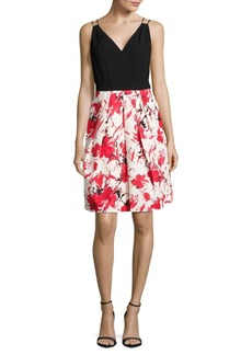 Carmen Marc Valvo Floral Skirt Dress