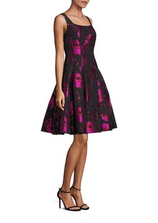 Carmen Marc Valvo Floral Sleeveless A-Line Dress