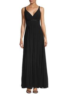 Carmen Marc Valvo Flyaway Silk Floor-Length Gown