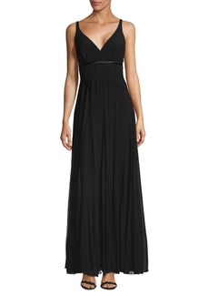 Carmen Marc Valvo Flyaway Silk Floor-Length Gown