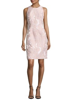 Carmen Marc Valvo Foliage Embroidered Dress