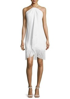 Carmen Marc Valvo Fringed Toga Cocktail Dress