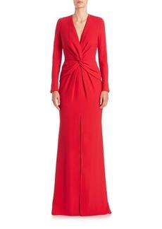 Carmen Marc Valvo Front-Twist V-Neck Gown