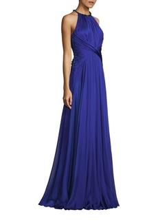 Carmen Marc Valvo Gathered Waist Chiffon Silk Gown