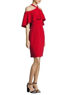 Carmen Marc Valvo Halter Cold-Shoulder Cropped Dress