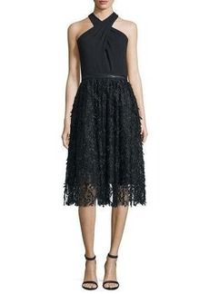 Carmen Marc Valvo Halter Fit & Flare Lace Combo Dress