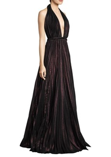 Carmen Marc Valvo Halter Floor-Length Gown