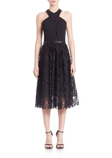 Carmen Marc Valvo Halter Mesh Cocktail Dress