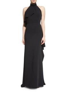 Carmen Marc Valvo Halter-Neck Gown W/Side Ruffle