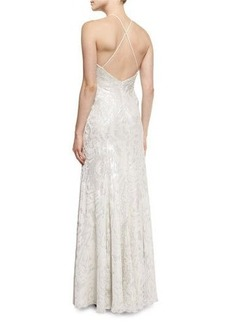 Carmen Marc Valvo Halter-Neck Metallic Burnout Gown