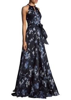 Carmen Marc Valvo Halterneck Printed Ball Gown