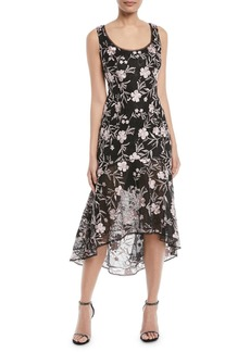 Carmen Marc Valvo High-Low Floral Embroidered Lace Gown
