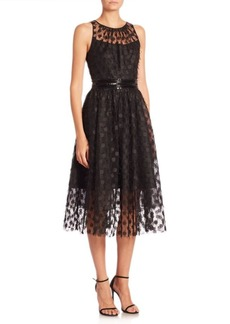 Carmen Marc Valvo Illusion Embellished Dress