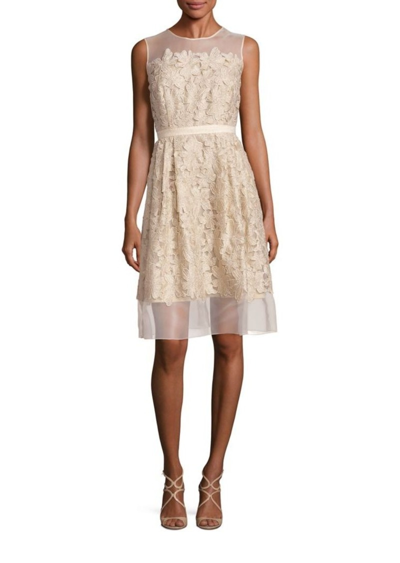 Carmen Marc Valvo Illusion Lace Applique Dress