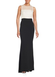 Carmen Marc Valvo Illusion Roundneck Dress