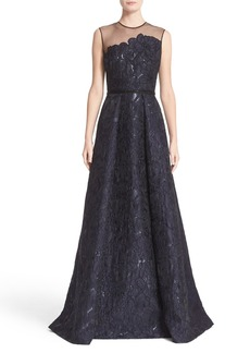 Carmen Marc Valvo Illusion Yoke Embroidered Jacquard A-Line Gown
