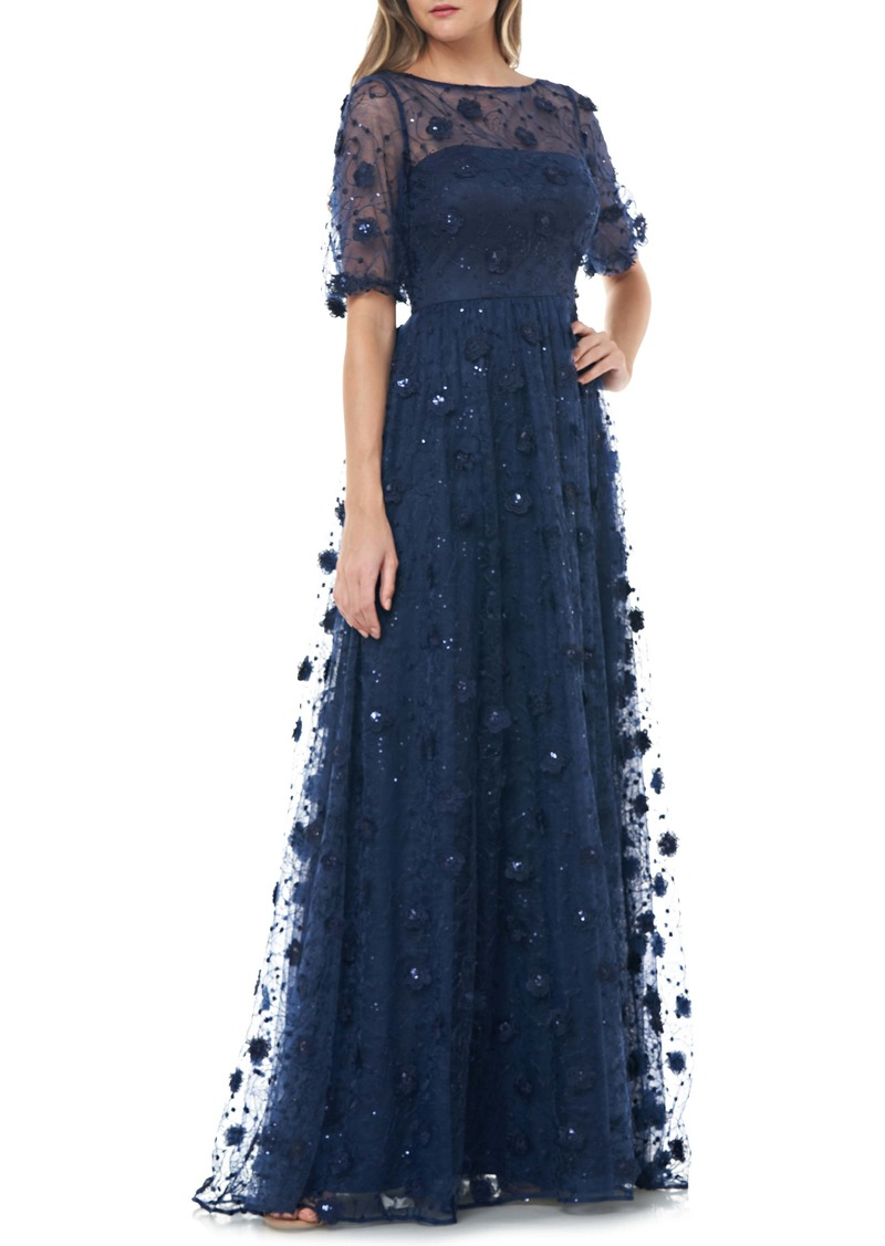 Carmen Marc Valvo Infusion 3D Embroidered Lace Gown