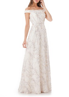 Carmen Marc Valvo Infusion 3D Embroidery Off the Shoulder Gown