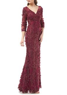 Carmen Marc Valvo Infusion 3D Flower Evening Dress