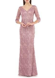 Carmen Marc Valvo Infusion 3D Petal Evening Gown