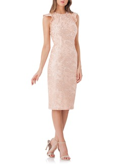 Carmen Marc Valvo Infusion Back Cutout Lace Sheath Dress