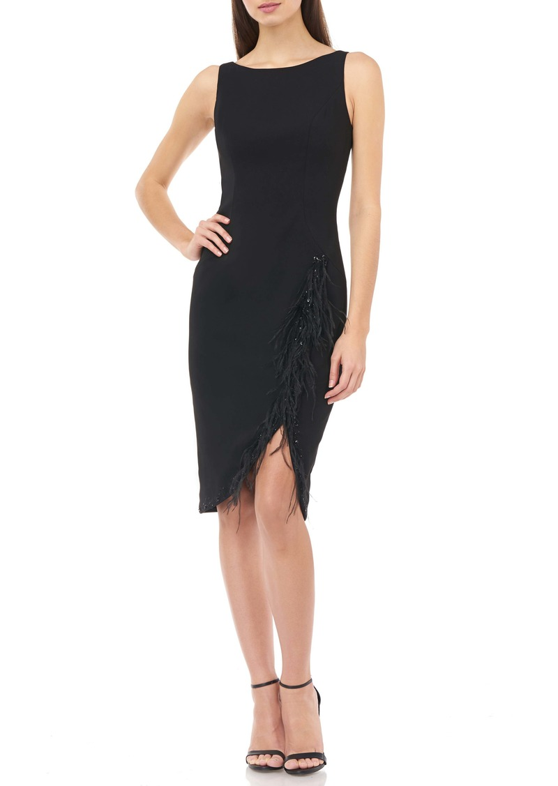 Carmen Marc Valvo Infusion Bead & Feather Trim Sleeveless Crepe Cocktail Dress