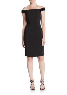 Carmen Marc Valvo Infusion Beaded Crepe Off-The-Shoulder Sheath Dress