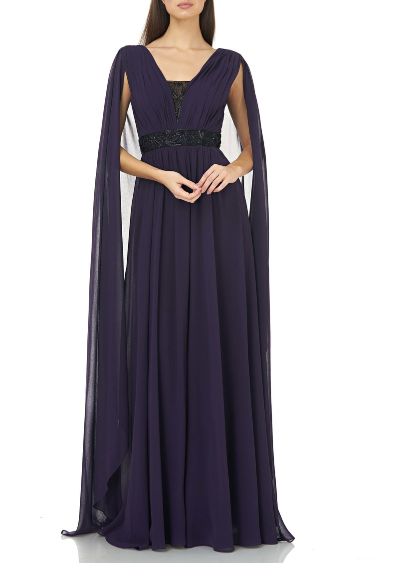 Carmen Marc Valvo Infusion Beaded Inset Caped Chiffon Gown