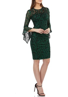 Carmen Marc Valvo Infusion Beaded Threadwork Cocktail Dress