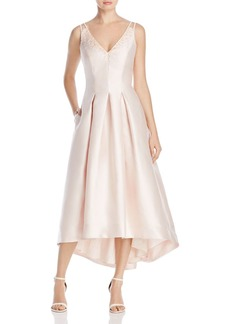 Carmen Marc Valvo Infusion Beaded V-Neck Midi Dress