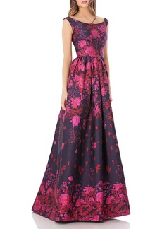 Carmen Marc Valvo Infusion Brocade Boat Neck Gown
