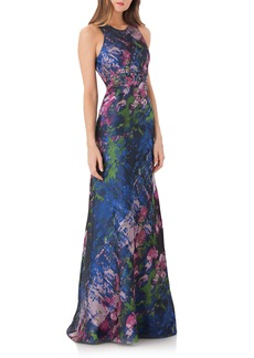 Carmen Marc Valvo Infusion Brocade Gown