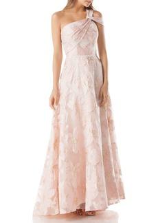 Carmen Marc Valvo Infusion Burnout One-Shoulder Ball Gown
