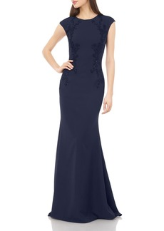 Carmen Marc Valvo Infusion Cap Sleeve Beaded Gown