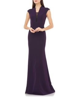 Carmen Marc Valvo Infusion Cap Sleeve Crepe Gown