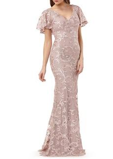 Carmen Marc Valvo Infusion Capelet Sleeve Evening Dress