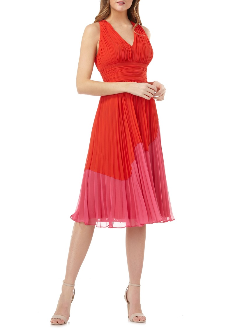 Carmen Marc Valvo Infusion Colorblock Pleated Dress