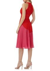 Carmen Marc Valvo Infusion Colorblock Pleated Dress